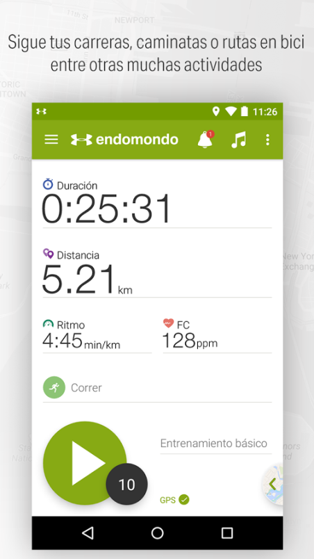 Captura de la App Endomondo