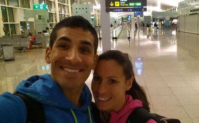 Sara Loerh, en el Aeropuerto rumbo a argentina