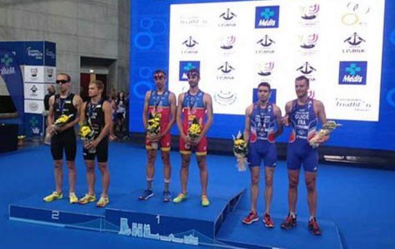 podium paratriatlón Campeonato Europa Triatlón Lisboa