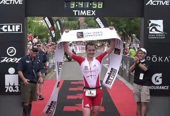 Photo of Alistair Brownlee's coup in the Ironman 70.3 St George