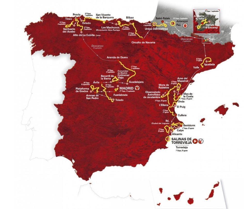 mapa-vuelta-españa-2019 El recorrido de la vuelta a España 2019 Noticias ciclismo