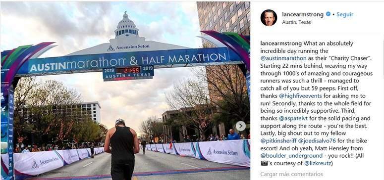 Lance Armstrong corre el maratón de Austin en 3:02:13