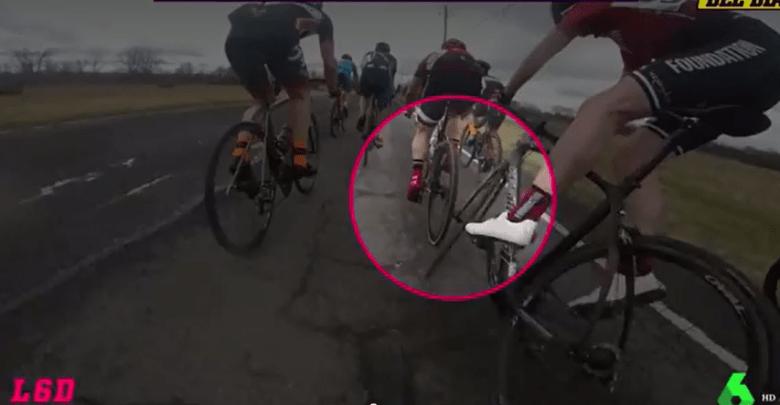 (Vídeo) Aparatoso accidente dentro de un pelotón de ciclista