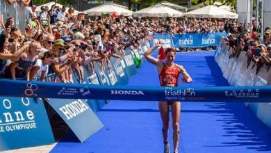 Photo of The Swiss Nicola Spirig in the top 10 of the World Triathlon Series just 12 weeks of giving birth