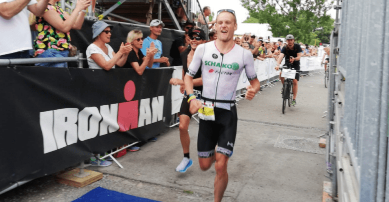 Jan Van Berkel arriving at the IRONMAN Zurich goal
