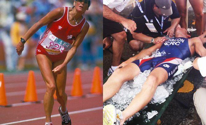 Athletes suffering heat stroke