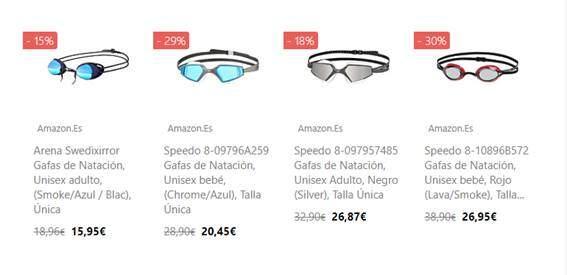 Promociones gafas natacion AMAZON PRIME