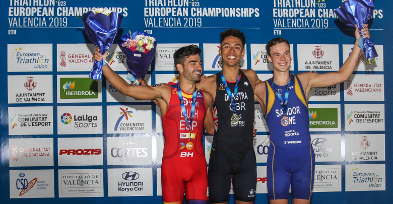 Javier Lluch on the podium of the European Sub23 Championship
