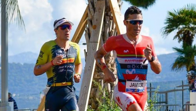 Photo of Javier Gómez Noya and Anna Noguera for all in the IRONMAN 70.3 Cascais
