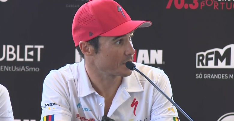 Javier Gómez Noya at the IRONMAN 70.3 Cascais press conference