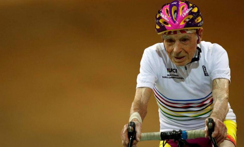 Robert Marchand on the bike