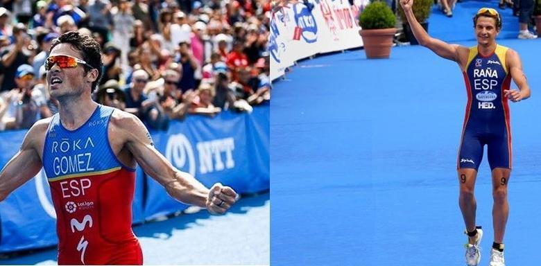 Javier Gómez Noya and IVán Raña winning the triathlon world championship