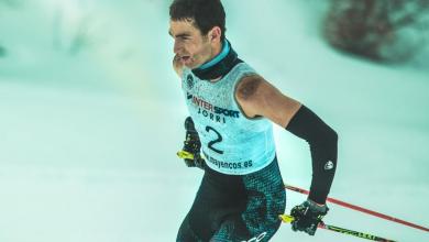 Pello Osoro compitiendo en un triatlón de invierno