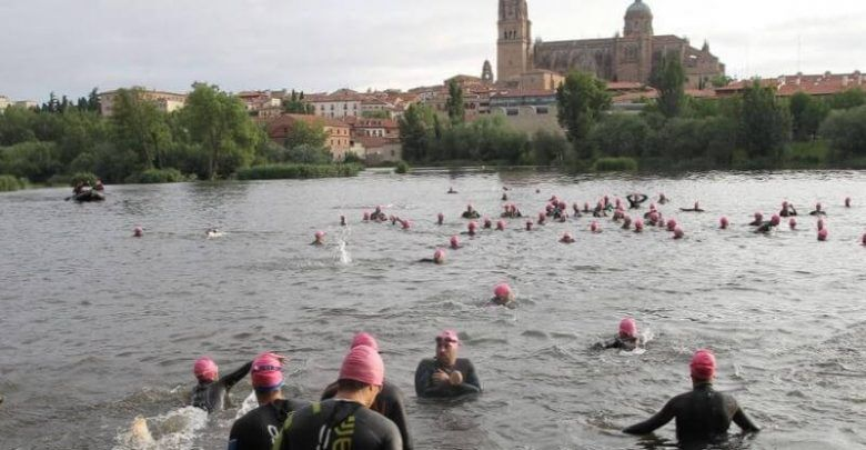 Abfahrt beim MD Salamanca Triathlon