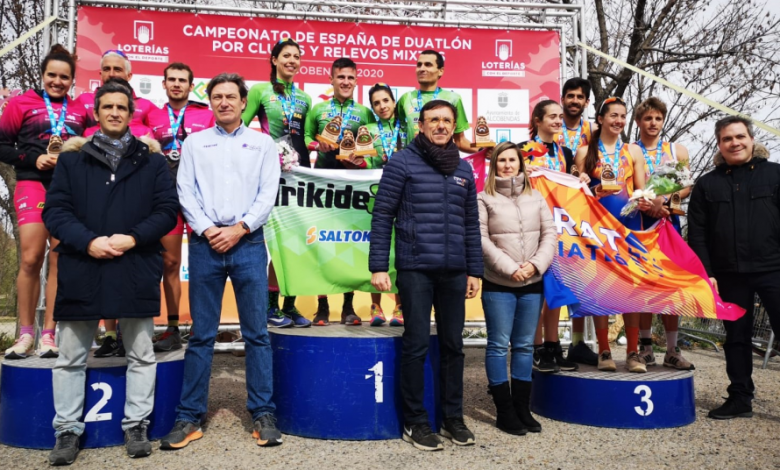 Photo of Saltoki Trikideak Spanish champions of Duathlon Mixed Relay in Alcobendas