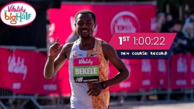 Photo of Kenenisa Bekele record in the London half marathon with 1:00:20