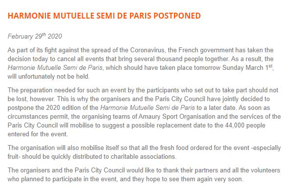 Ils annulent le semi-marathon de Paris à cause du Coronavirus