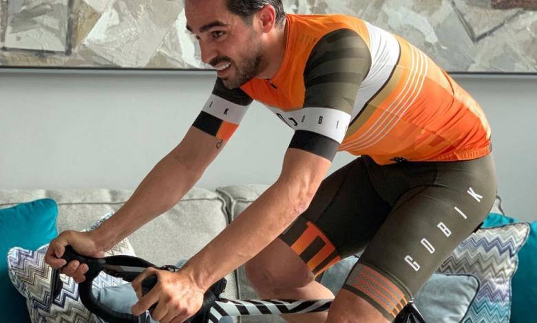 Sesión de rodillo por Alberto Contador