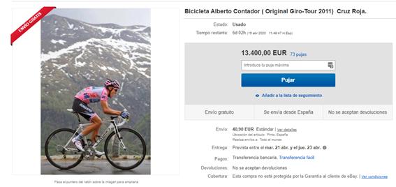 Captura puja bicicleta que subasta Alberto Contador