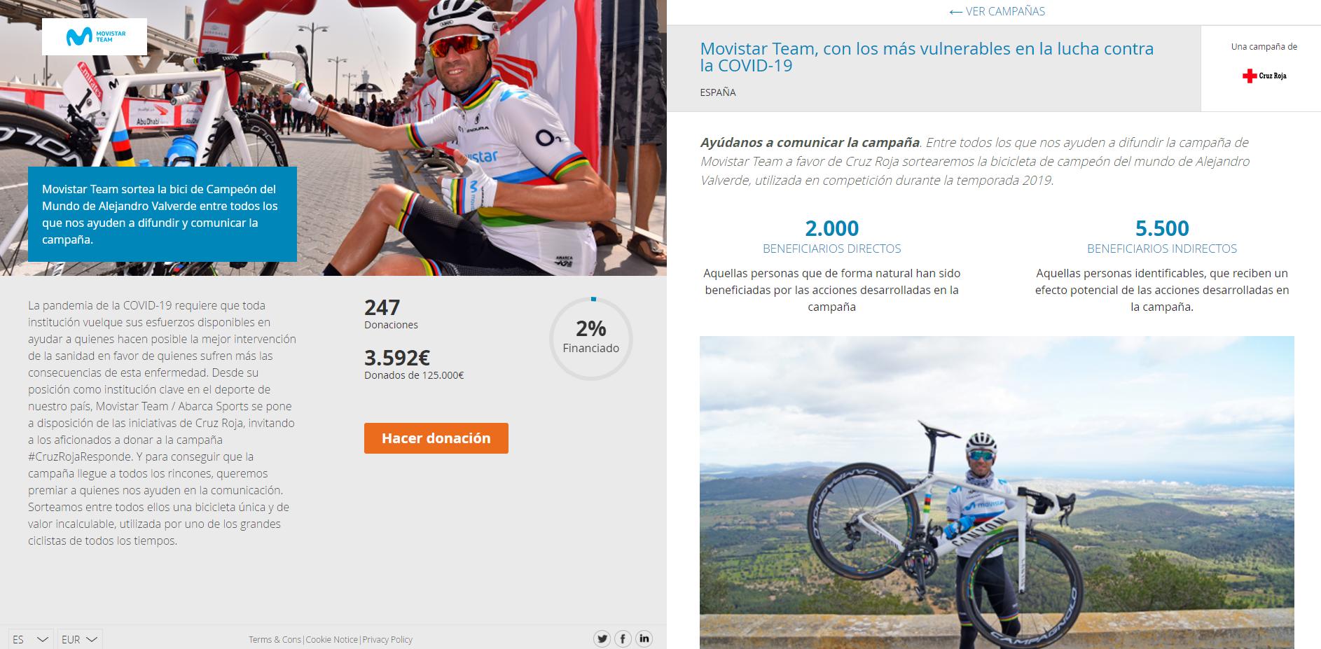 Web, sorteo bicicleta Canyon Ultimate de Alejandro Valverde