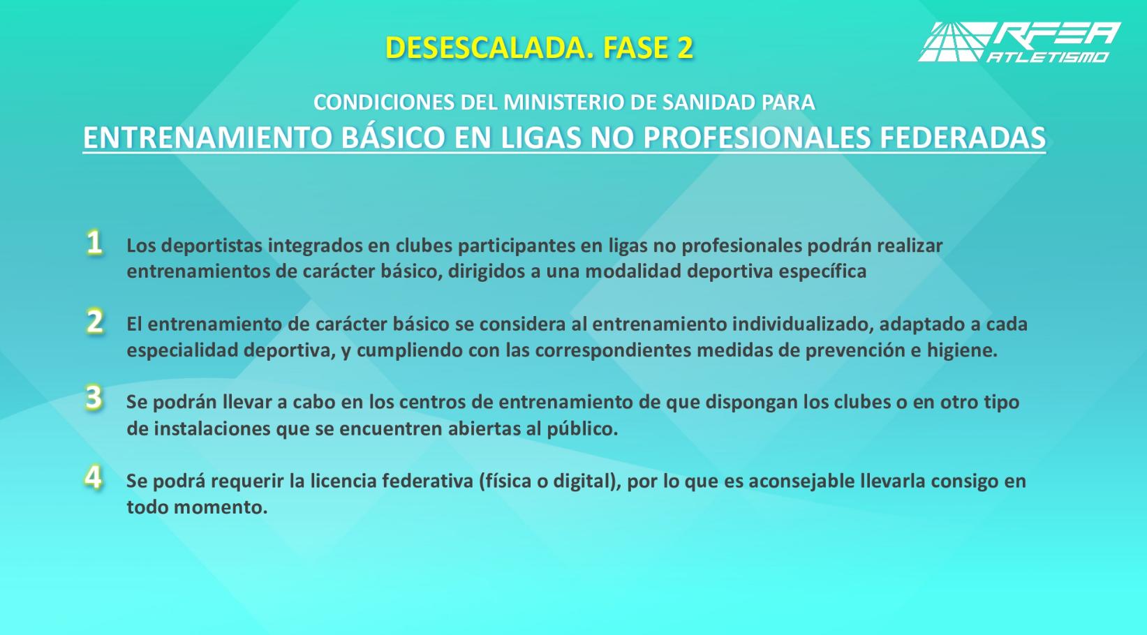 Dudas y respuestas de la nueva Fase 0 1 y 2 sobre el deporte profesional y federado del 18 de Mayo