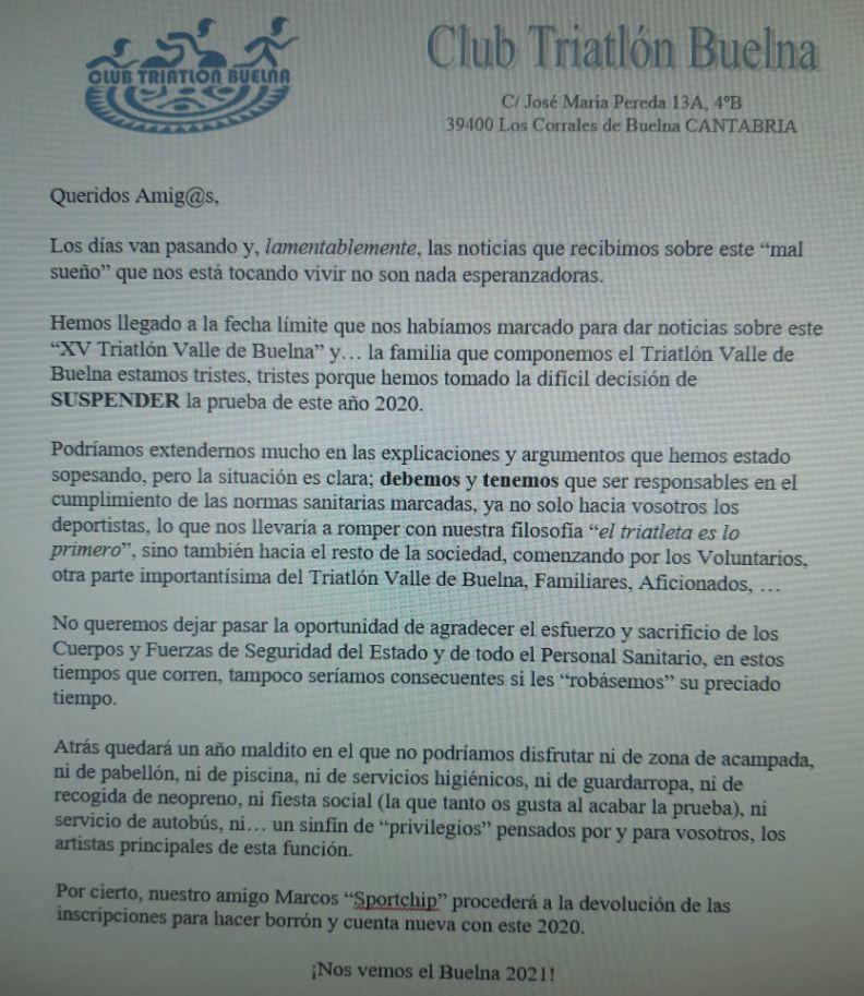 Déclaration officielle Annulation de la vallée de triathlon de Buelna