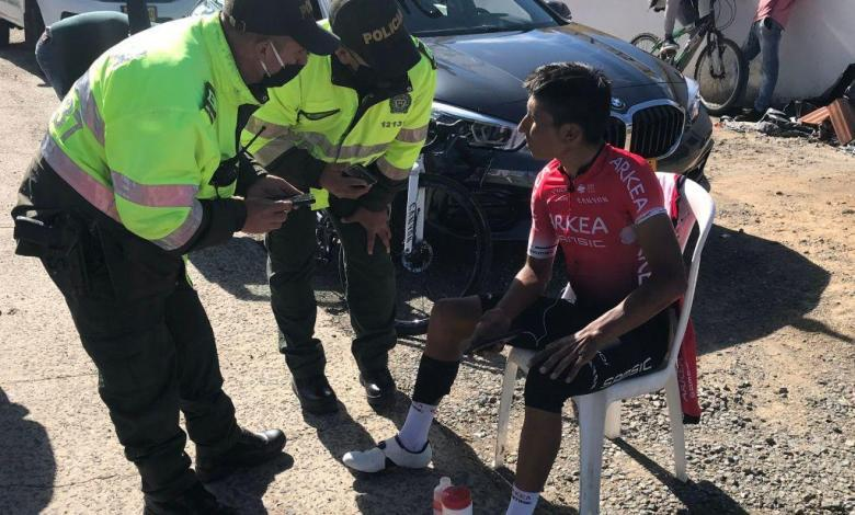 Photo of Nairo Quintana run over while training for the Tour