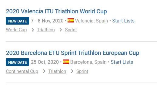 Dates internationales de triathlon Espagne 2020
