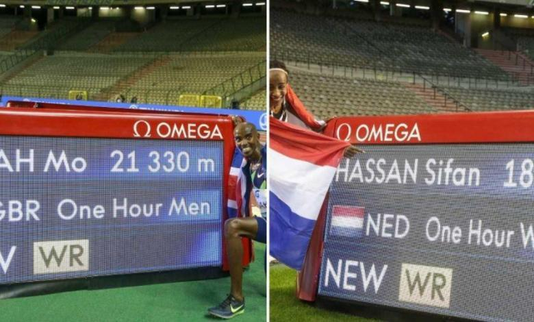 Mo Farah and Sifan Hassan record the time