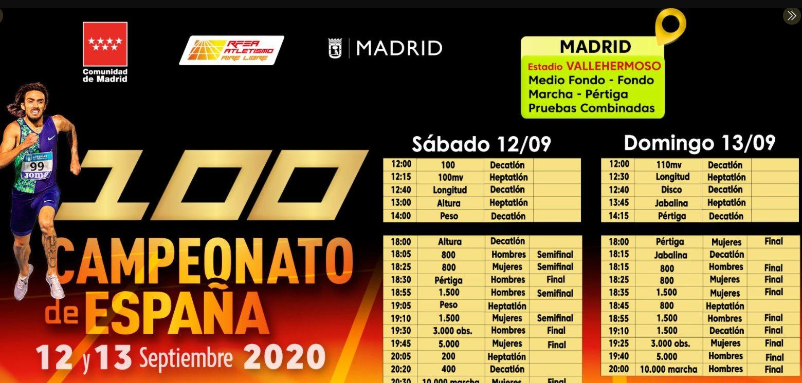 Schedules Spain Athletics Championships 2020