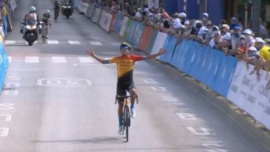 Photo of (Video) A cyclist celebrates victory in the Tour de Luxembourg, but he had a lap to go