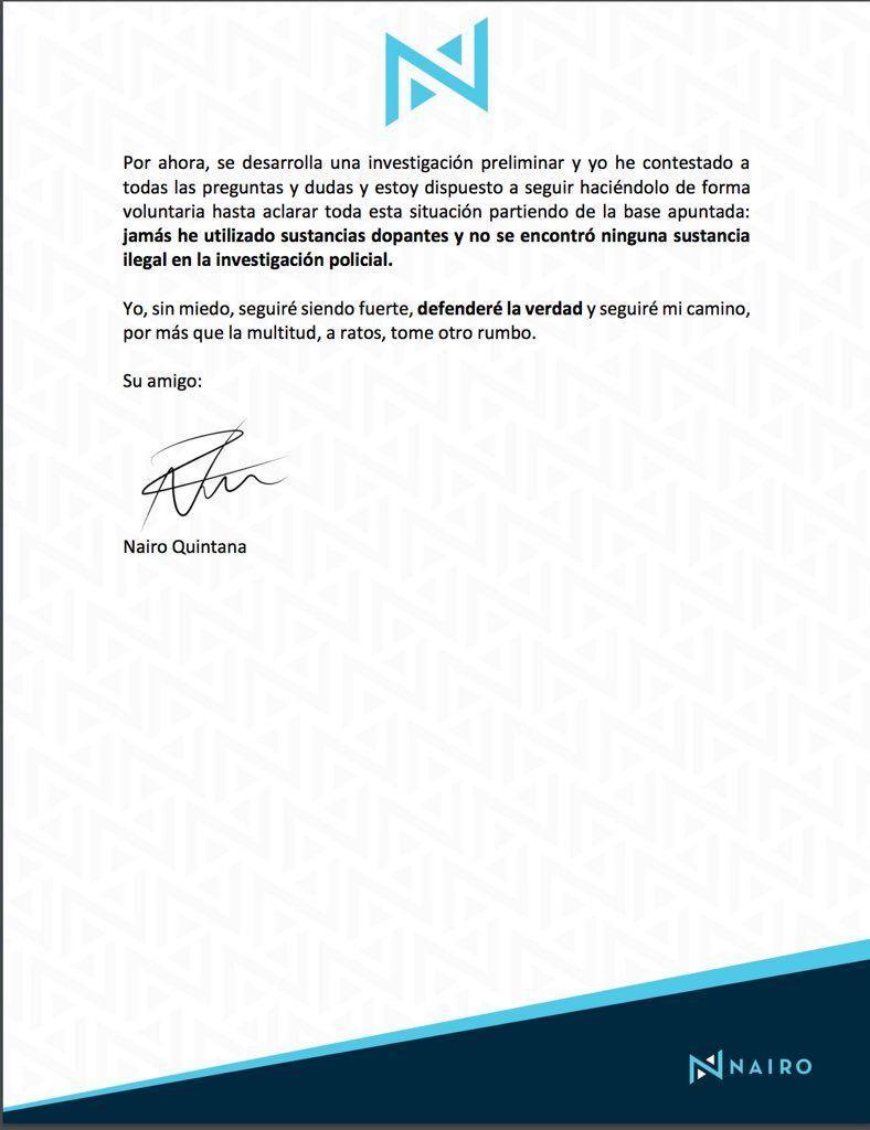 Nairo Quintana «I have never used doping substances»