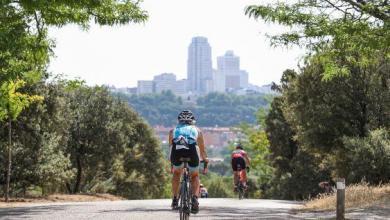 Cycling segment of the Madrid Triathlon at Casa de Campo