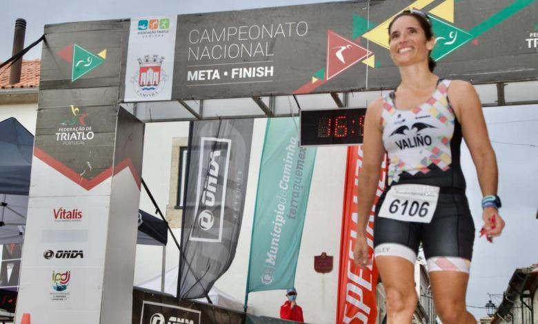 Aida Valiño winning the Iberian Triathlon Championship