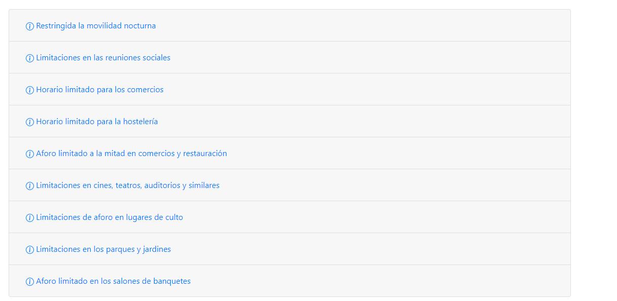 Ejemplo de restricciones en la app quecovid.es