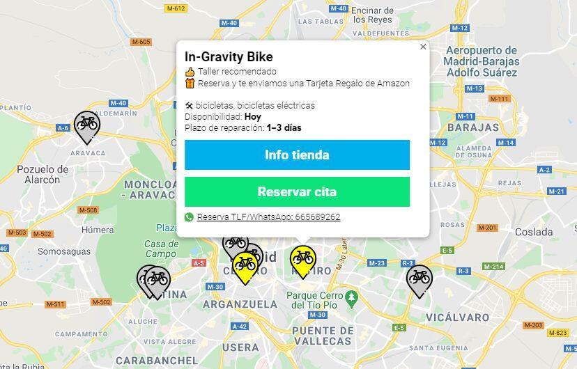 Ejemplo de tiendas en Madrid en la web RepararBicicleta.com