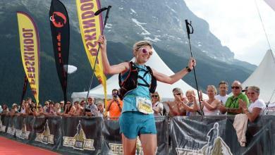 Andrea Huser ganando el Eiger Ultra Trail