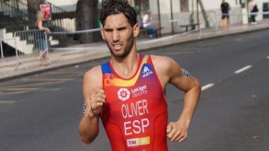 Carlos Oliver compitiendo como internacional en triatlón