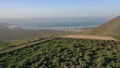 Vista aérea del entrenamiento de Noya en Lanzarote