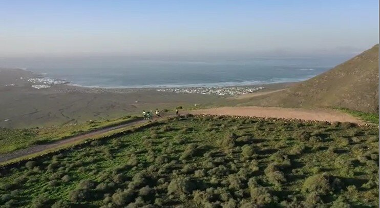 Aerial view of Noya's training in Lanzarote