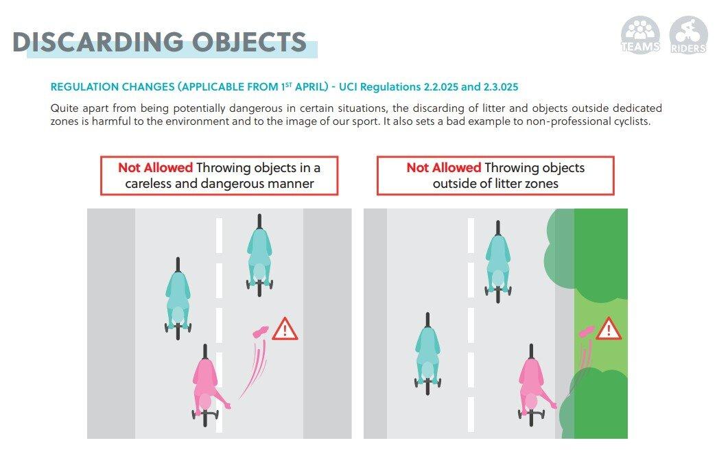 Donde NO tirar geles en carretera UCI 2021